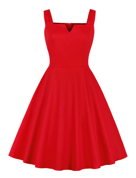 Milanoo Red Vintage Dress Sleeveless Pockets Pleated Pin up Retro Summer Dress