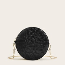 Croc Embossed Chain Round Crossbody Bag