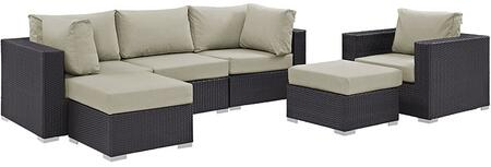 Convene Collection EEI-2207-EXP-BEI-SET 6 PC Outdoor Patio Sectional Set with Powder Coated Aluminum Frame  Waterproof Nonwoven Fabric Inner Cover