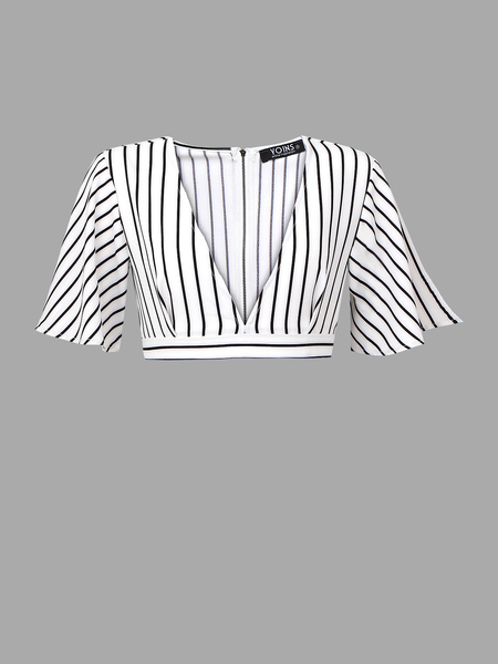 Yoins Plunge V-neck Stripe Crop Top with Belt