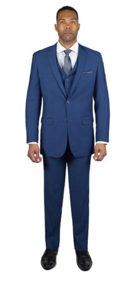 Mens Royal Blue Shark Skin 2 Button Three Piece TR Blend Suit