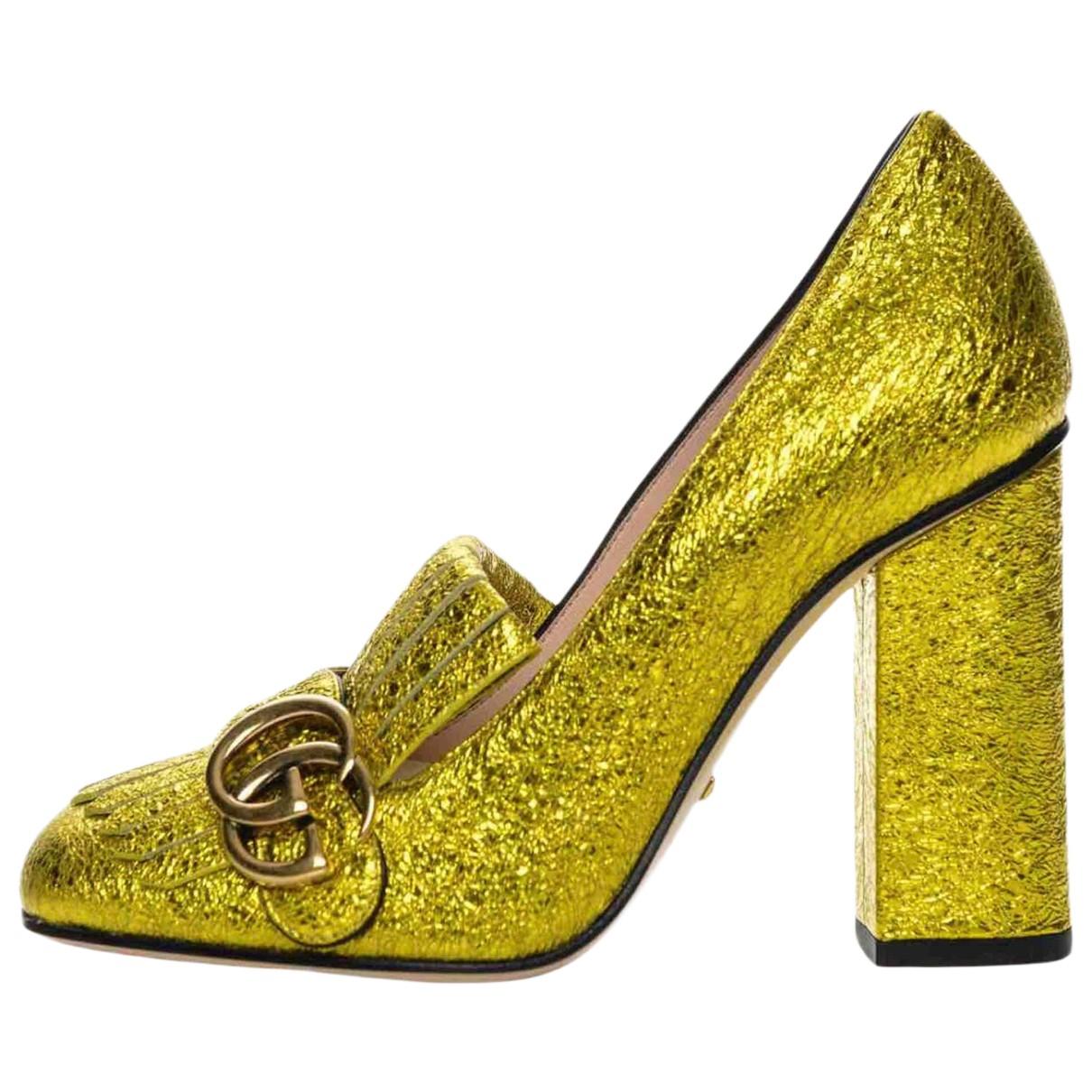 Gucci - Escarpins Marmont pour femme en cuir - jaune