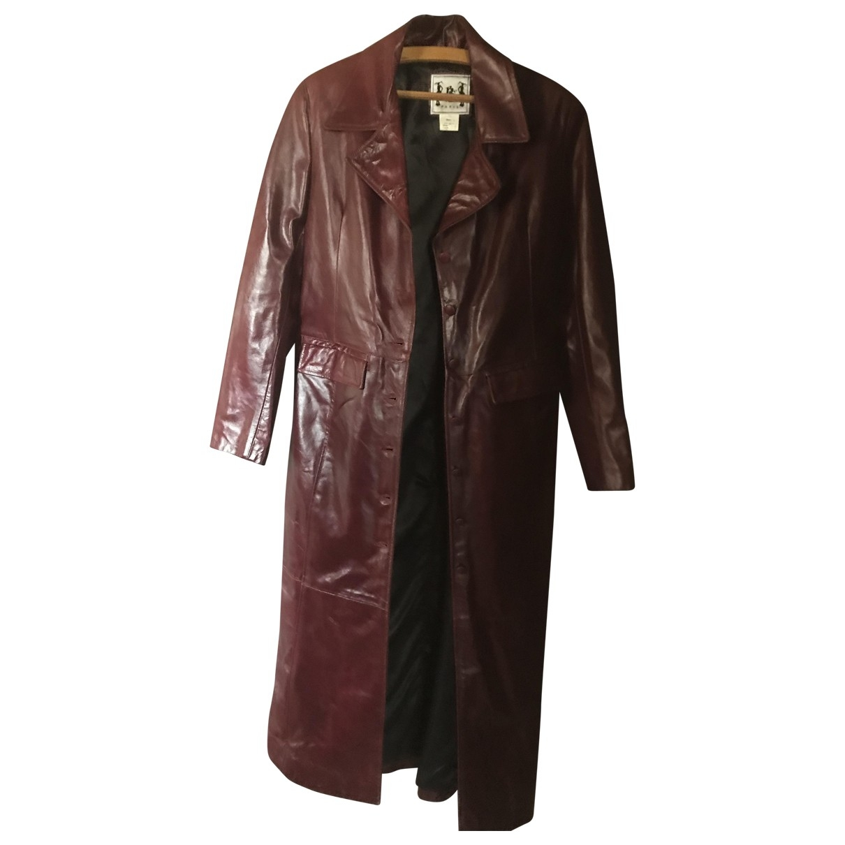 Non Signé / Unsigned \N Red Leather coat for Women XXL International