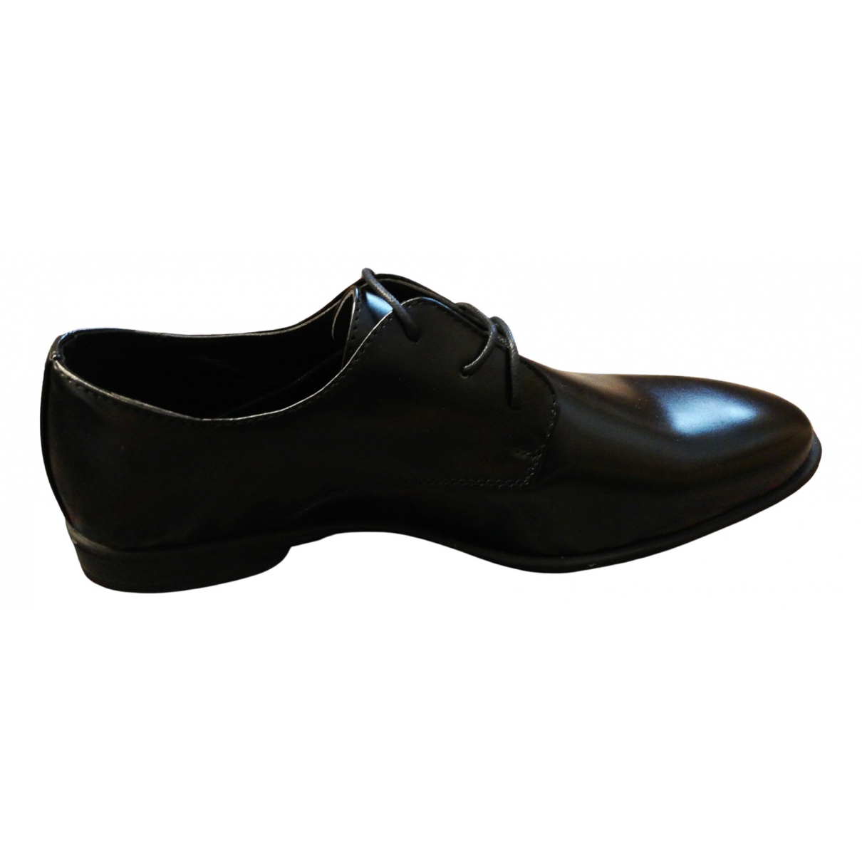Non Signé / Unsigned N Black Leather Flats for Men 44 EU