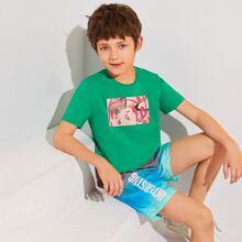 Top mit Grafik Muster & Shorts mit Buchstaben Grafik und Farbverlauf