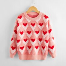 Girls All Over Heart Pattern Sweater
