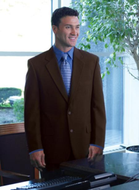Single Breasted 2 Button Solid Brown Blazer