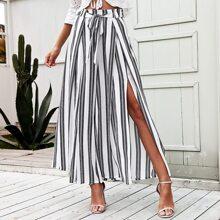 pantalones anchos de rayas de cintura con cordon de muslo con abertura