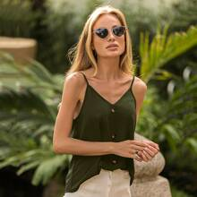 Solid Button Front Cami Top