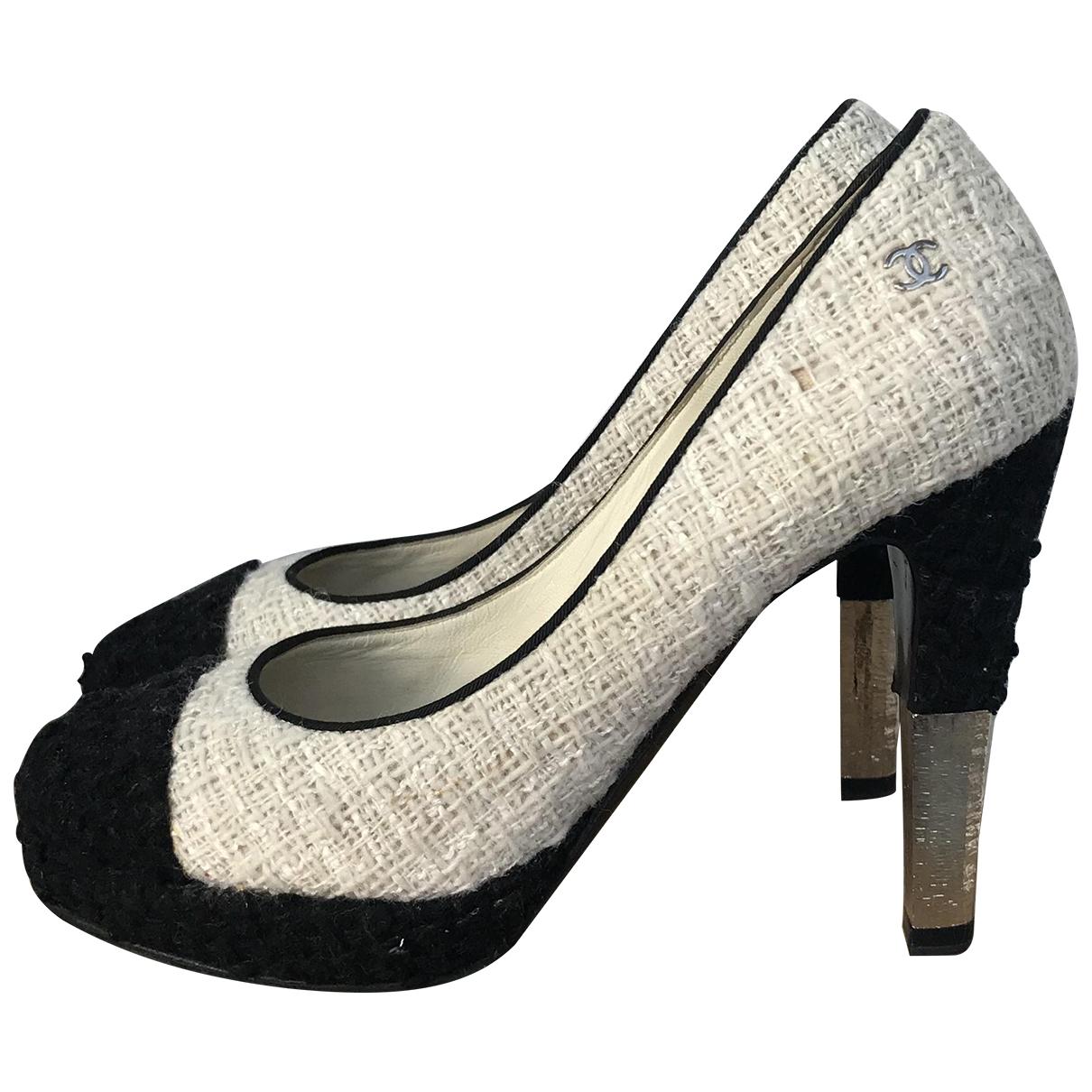 Chanel - Escarpins   pour femme en tweed - ecru