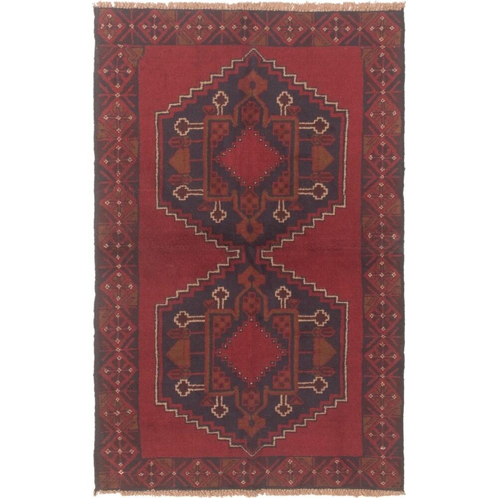ECARPETGALLERY Hand-knotted Teimani Dark Red Wool Rug - 3'6 x 6'0 (Dark Red - 3'6 x 6'0)