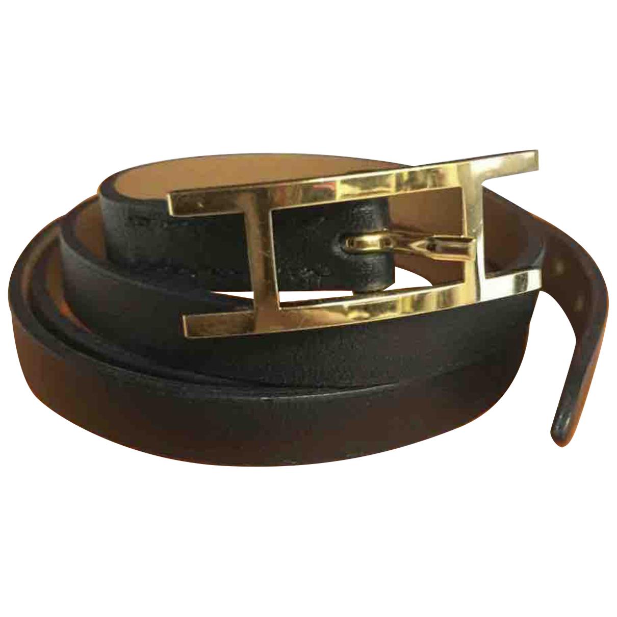 Hermes Hapi Armband in  Schwarz Leder