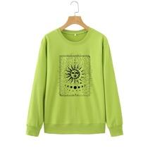 Abstract Sun And Moon Print Sweatshirt
