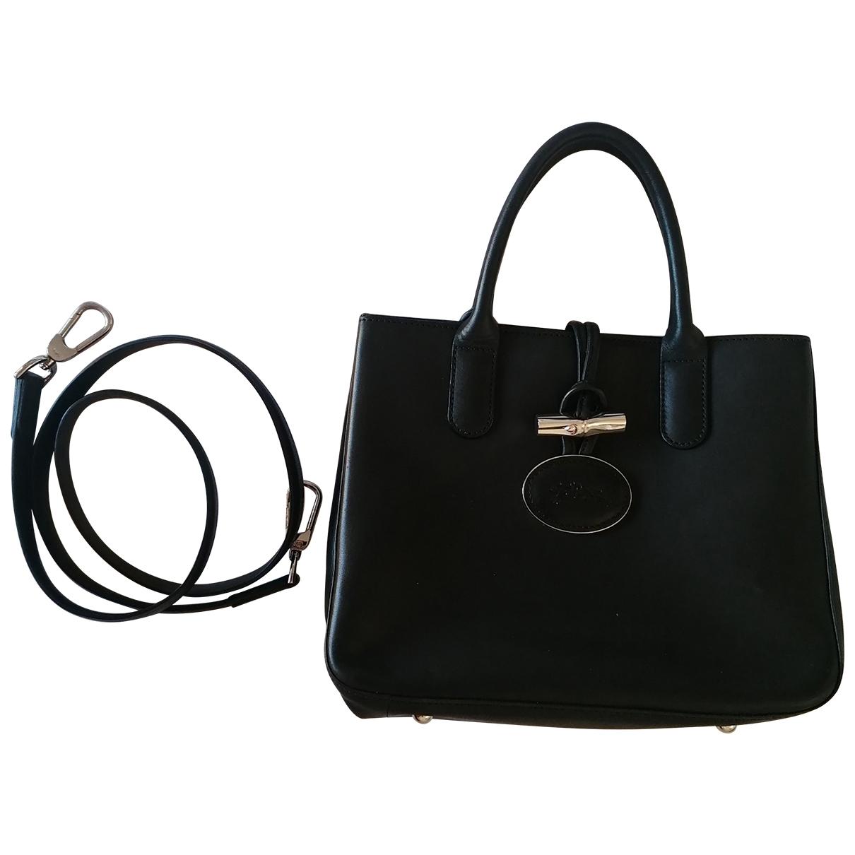 Longchamp Roseau Handtasche in  Schwarz Leder