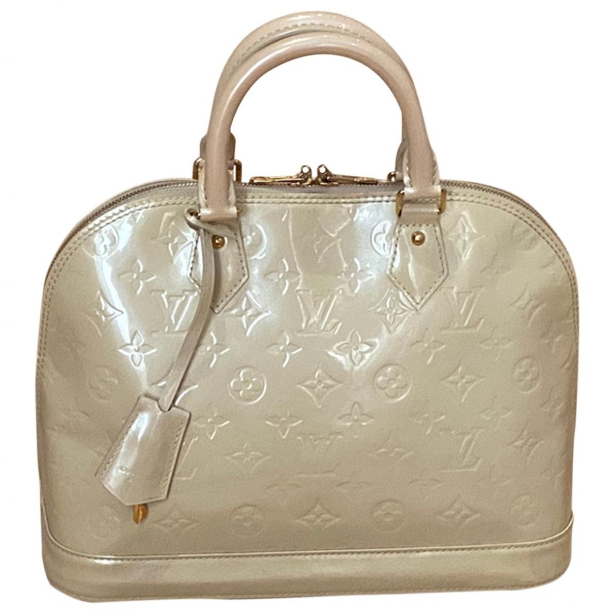 Louis Vuitton Alma Handtasche in  Beige Lackleder