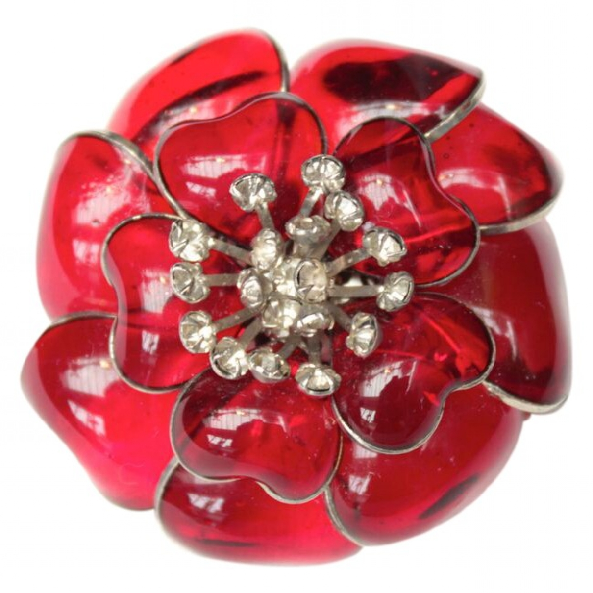 Non Signé / Unsigned Motifs Floraux Red Glass Pins & brooches for Women \N