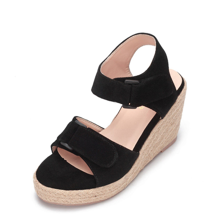 Yoins Black Double Buckle Straps Woven Wedge Sandals