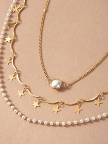 3pcs Star Charm Pearl Decor Layered Necklace
