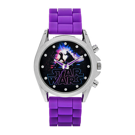 Star Wars Womens Purple Silicone Strap Watch, One Size , No Color Family