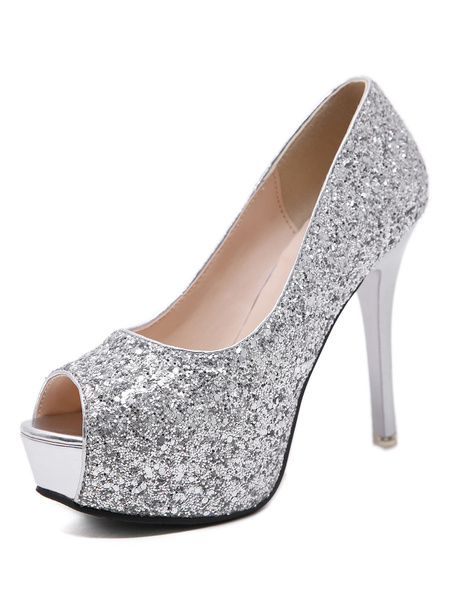 Milanoo Women's Peep Toe Shoes Stiletto Heel Chic Sequined Cloth Chic Sandal Pumps