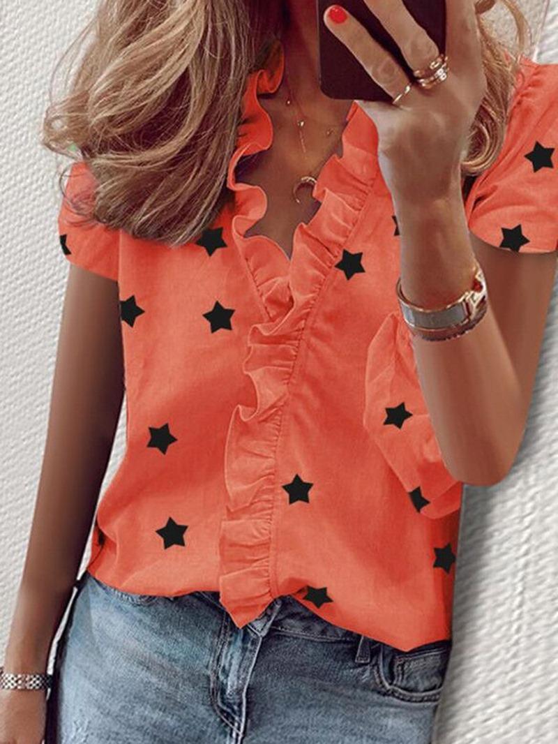 Ericdress Star Print V-Neck Standard Short Sleeve Blouse