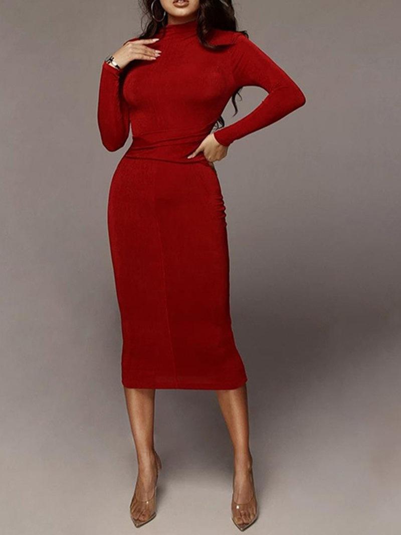Ericdress Mid-Calf Stand Collar Long Sleeve Winter Bodycon Dress