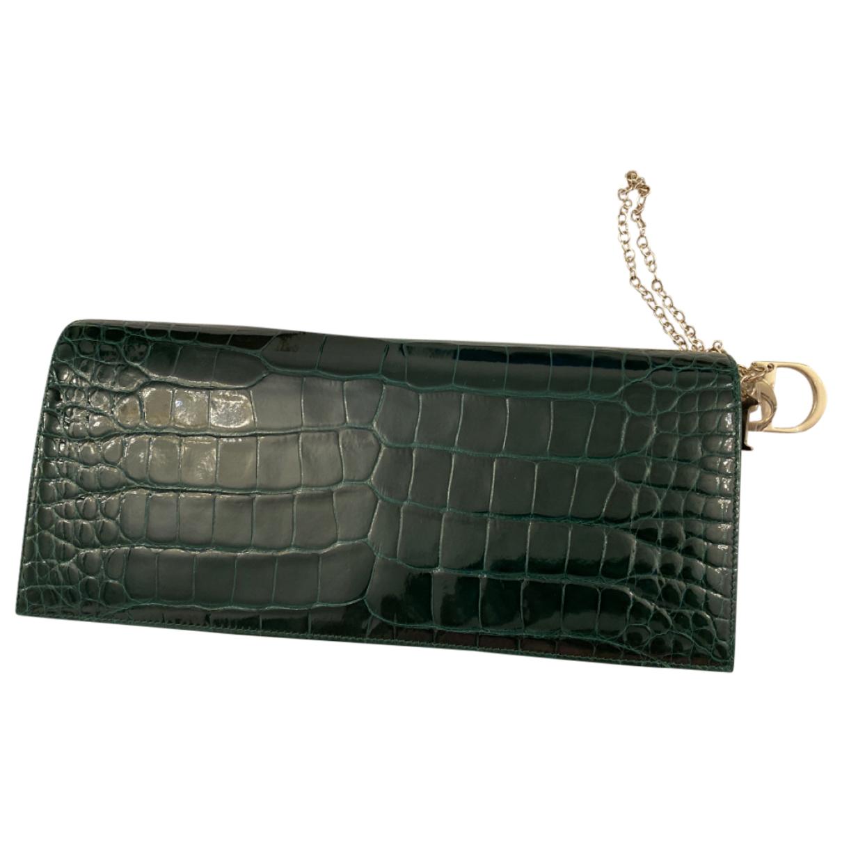 Dior Lady Dior Green Crocodile Clutch bag for Women \N