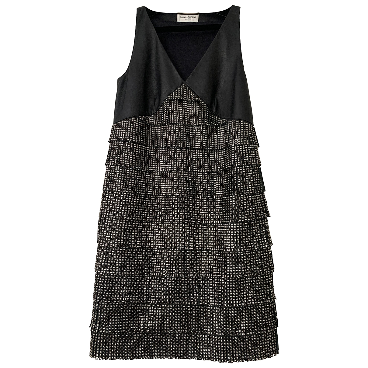 Saint Laurent - Robe   pour femme en cuir - noir
