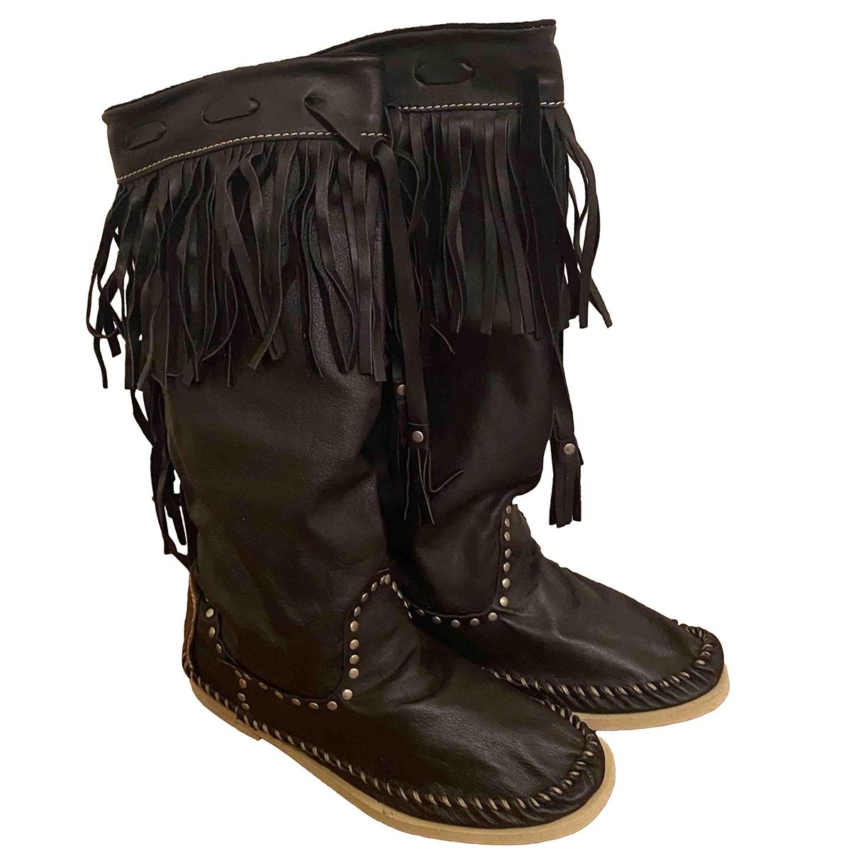 Hektor - Bottes   pour femme en cuir - noir