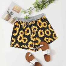 Plus Sunflower Print Drawstring Shorts