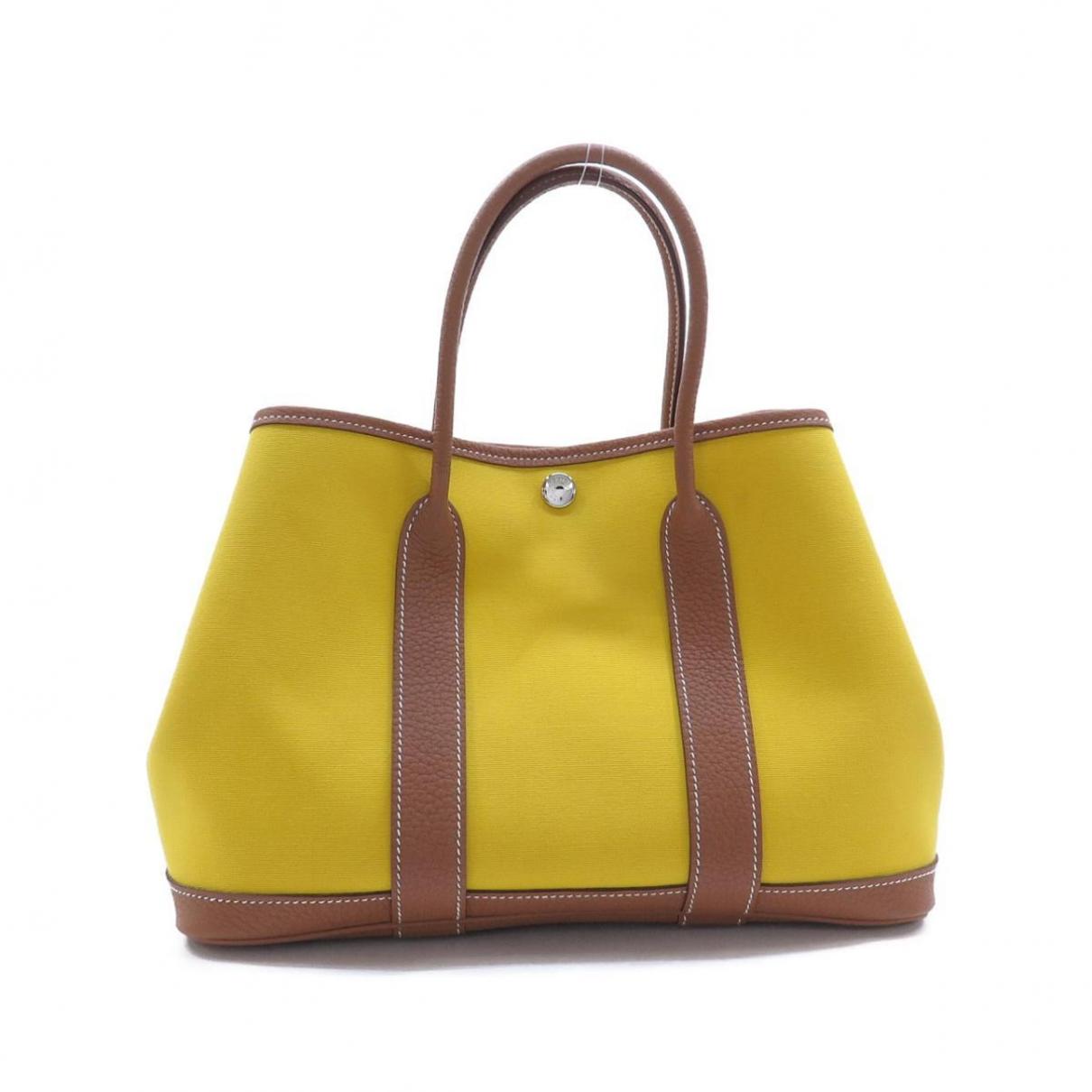 Hermes Garden Party Handtasche in  Gelb Leinen