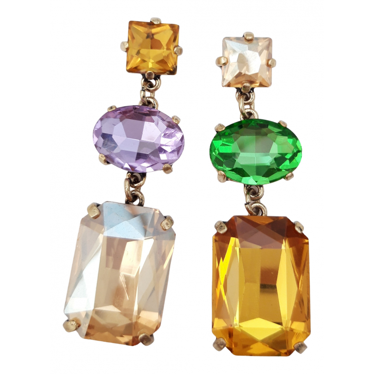 Non Signé / Unsigned Art Déco Multicolour Crystal Earrings for Women \N