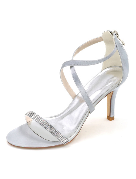 Milanoo Women's Criss-Cross Wedding Shoes Crysta Sandals Stiletto Heel Bridal Shoes