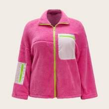 Plus Neon Pink Drop Shoulder Teddy Jacket