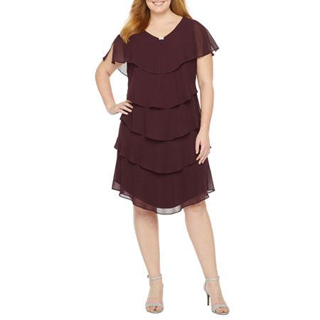 S. L. Fashions-Plus Short Sleeve Tiered Shift Dress, 14w , Purple