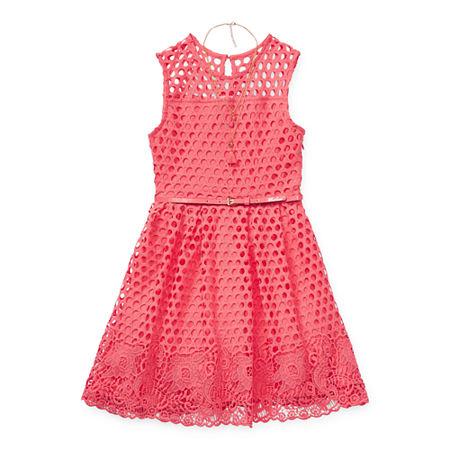 Knit Works Little & Big Girls Belted Sleeveless Skater Dress, 10 , Orange