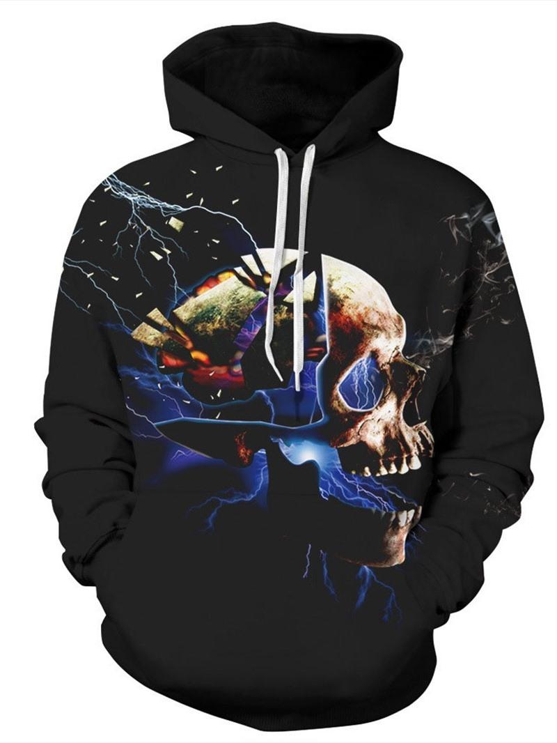 Ericdress Pullover Print Skull Hooded Pullover Hoodies