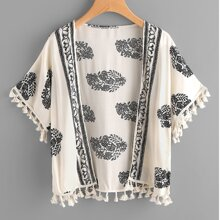 Leaf Print Tassel Hem Kimono