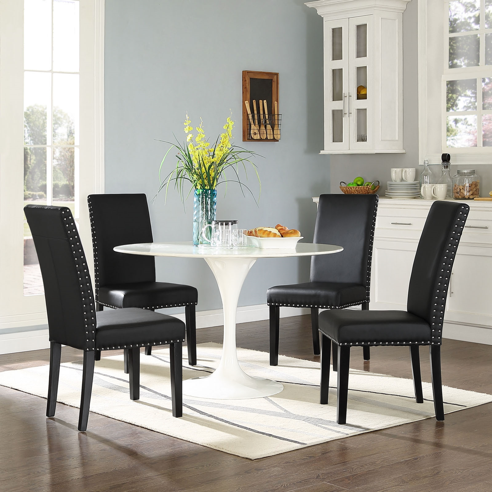 Parcel Dining Faux Leather Side Chair in Black