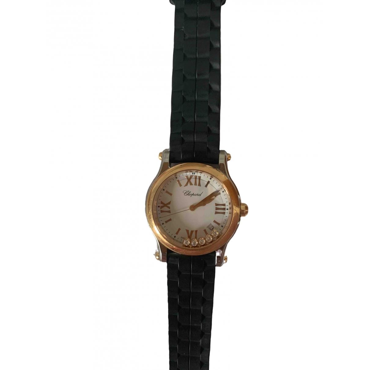Chopard Happy Sport Black gold and steel watch for Women \N