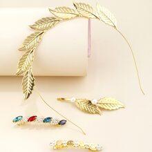 1pc Leaf Design Hair Hoop & 3pcs Gemstone Decor Hair Clip