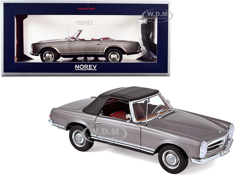 1963 Mercedes Benz 230SL Convertible Anthracite Gray Metallic with Red Interior 1/18 Diecast Model Car by Norev