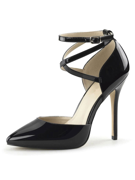 Milanoo Women Sexy Sandals Black PU Leather Pointed Toe Ankle Cross Strap Sexy Shoes