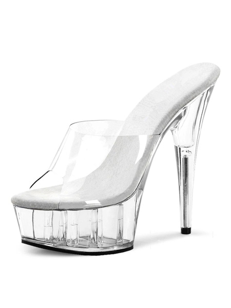 Milanoo High Heel Sexy Sandals White Peep Toe Stiletto Sandals