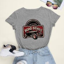 Car And Letter Graphic Tee