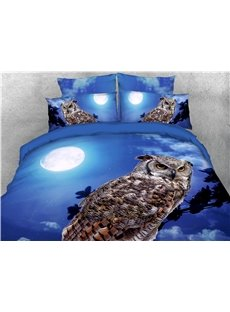 Wild Owl and Moon Blue Printed 4-Piece 3D Bedding Sets/Duvet Covers