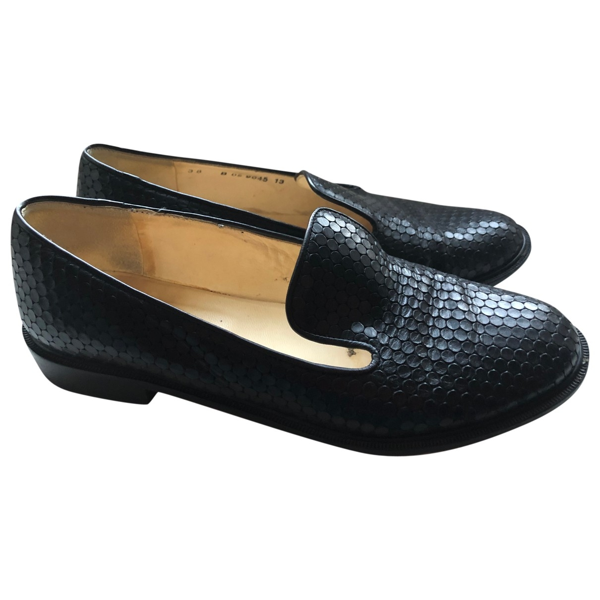 Robert Clergerie \N Black Leather Flats for Women 38 IT
