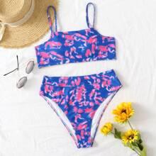 Tie Dye High Waisted Bikini Swimsuit