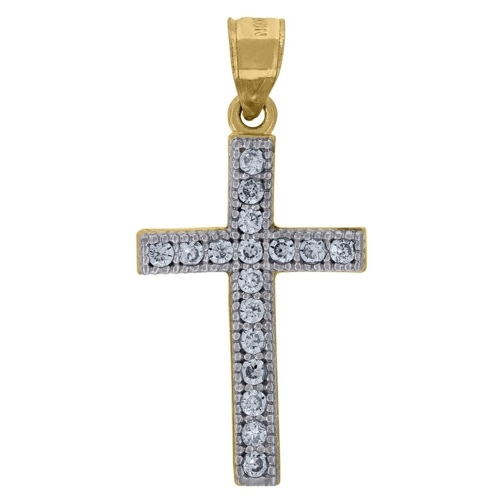 Curata 10k Two-tone Gold Cubic Zirconia Unisex Cross Height 31.4mm X Width 15.4mm Religious Charm Pendant