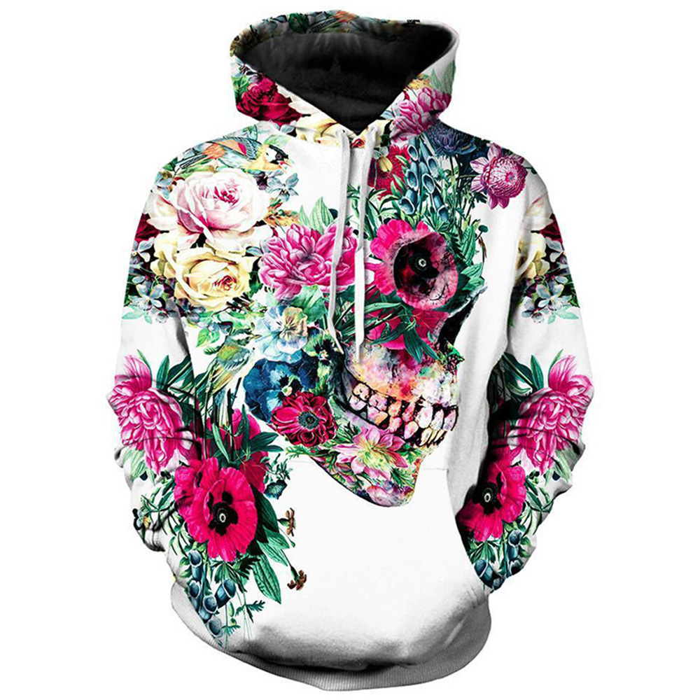 Unisex 3D Novelty Skull and Rose Print Hoodies with Soft and Breathable Polyester 100% No Fading